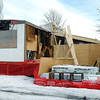 A trailer damaged by fire in the Sunrise Trailer court with an addition being built on it. Citizen photo by Brent Braaten    Dec 6 2011