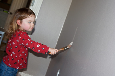 """She asked everyday """"is it time to paint?"""" once the paint cans showed up.  She was SO excited to help!"""