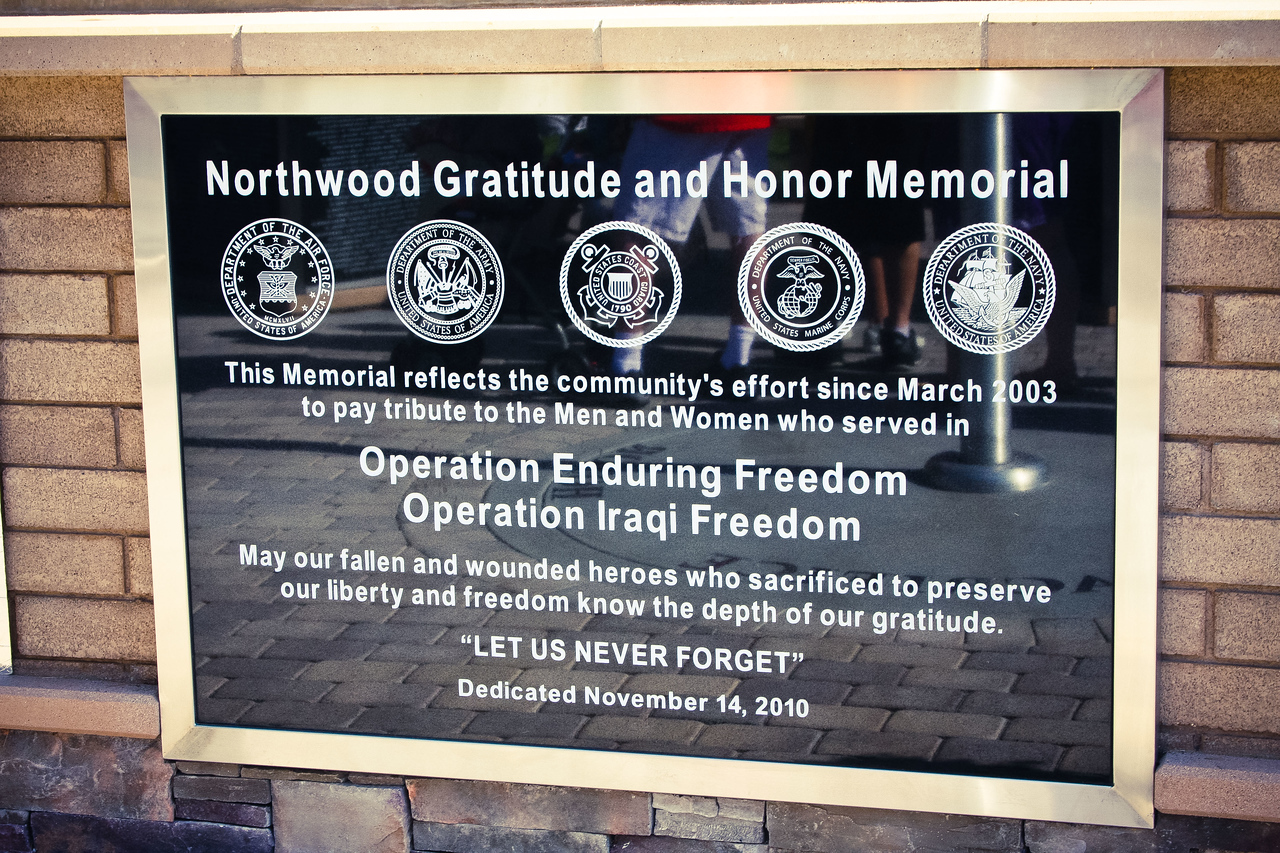 The Memorial honors fallen American heroes from Operation Enduring Freedom (Afghanistan), Operation Iraqi Freedom (Iraq), and Operation New Dawn (Iraq). Names of the recently fallen are added periodically during the year.