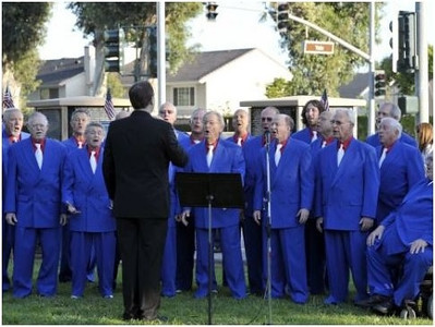 """Musical group South County Sound singing the """"Armed Forces Medley"""" to honor veterans from all service branches."""