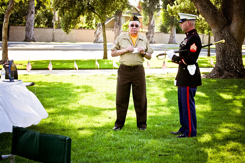 Volunteer Bill Sandlin and Sgt. Sam Lynn before the ceremony.