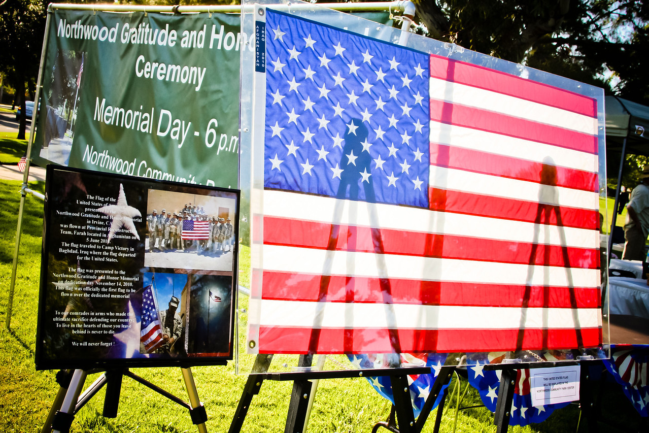 This flag was flown over forward operating bases in Afghanistan and Iraq before being donated to the Northwood Gratitude and Honor Memorial at its dedication on November 14, 2010.