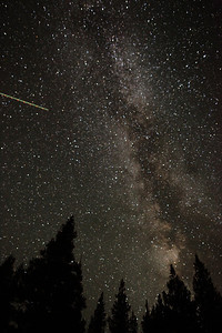 Milky Way and satellite over Tuolumne Meadows.