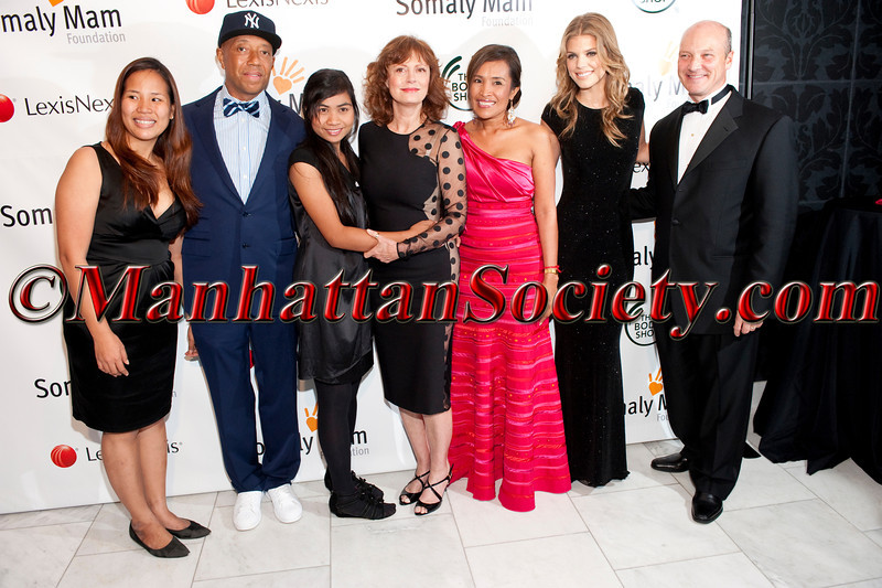 Survivor, Russell Simmons, survivor Chea Lingya, Susan Sarandon, Somaly Mam, AnnaLynne McCord, Phil Kowalczyk attend 2011 Somaly Mam Foundation East Coast Gala on Thursday, October 20, 2011 at Espace, 635 West 42nd Street, New York City, NY.  PHOTO CREDIT: ©Manhattan Society.com/Christopher London