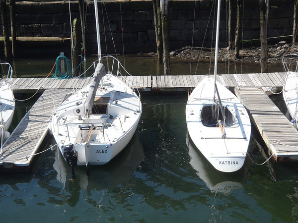 A J24 on left - compared to a Soling on right.