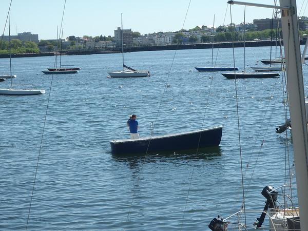 Small boat motoring through.