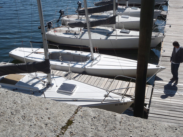 Boston Sailing Center - Soling in the dock for work.