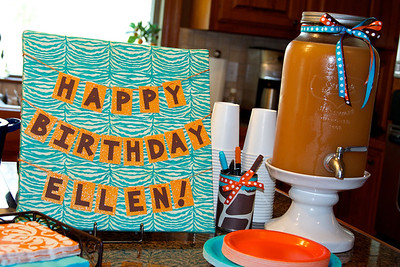 """Sign made of canvas wrapped with fabric and scrapbook paper.  Another utensil holder, and """"brunch punch"""""""