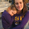 She made it to the end, but it was all the football that she could handle!  LSU v. Arkansas 2011