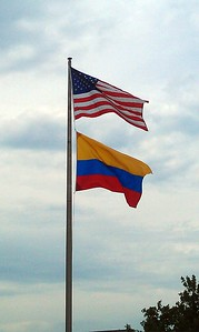 The flags of the United States and Colombia, flying at Robinson Terminal South