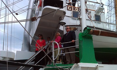 From left: Potomac Riverboat Company Vice President Charlotte Hall; Alexandria Deputy City Manager Mark Jinks; Potomac Riverboat Company Owner Willem Polak; Alexandria Deputy City Manager Michele Evans; and Alexandria Waterfront Committee member Engin Artemel