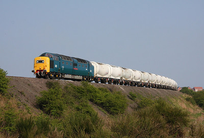 55022 Woodhorn 19/04/11 working its way round the exit curve with 6N32 empties to North Blyth