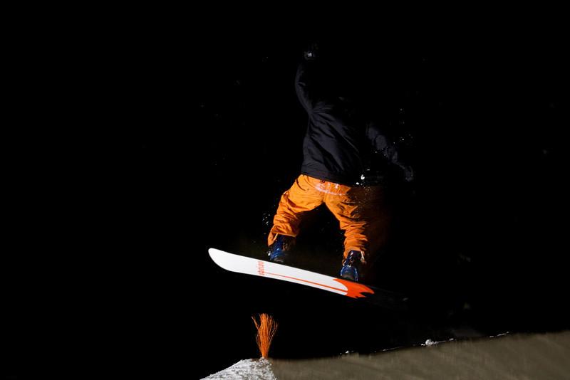 Tim launches airborne in the dark.