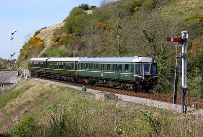 55028 Corfe Castle 09/04/11 leading the 15.45 service to Swanage