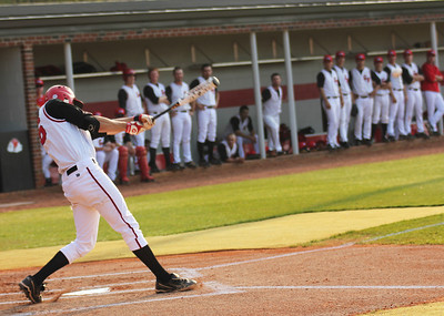 #16 Benji Jackson gets a hit in Gardner-Webb's game against Charleston Southern.