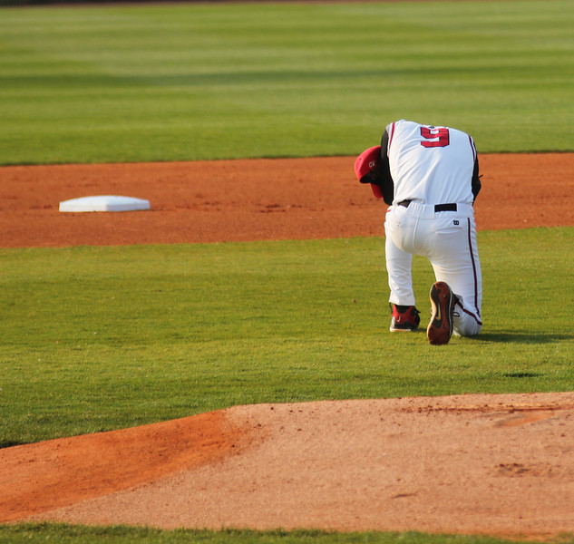 #9 Emilio Pagan spends a quiet moment before his start against Charleston Southern.