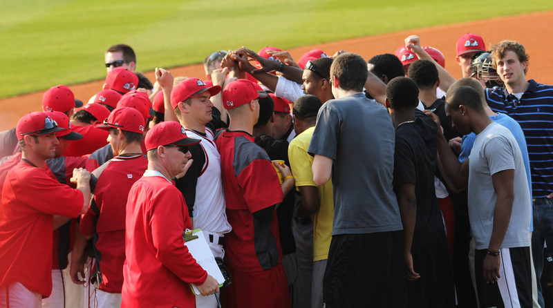 The Gardner-Webb basketball team came to support the baseball team.