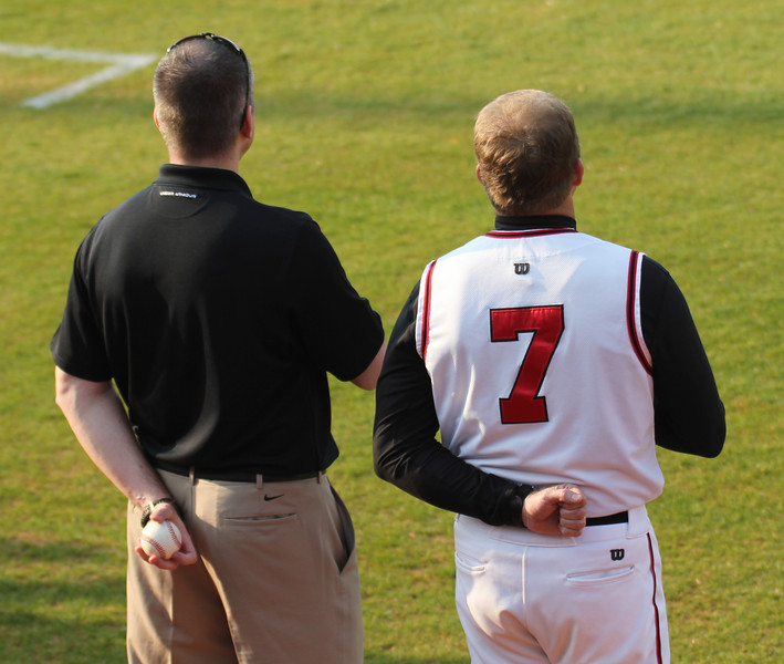 Coach Chris Holtmann joined Coach Rusty Stroupe before Gardner-Webb's match against Charleston Southern.