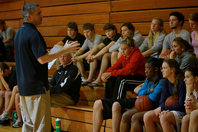 FCA hosted 3v3 basketball tournament. Basketball coach Chris Holtmann speaks to students before the games begin.