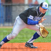 Tribune-Star/Jim Avelis<br /> Stopping here: ISUs Jon Hedges gloves a ground ball in the Sycamores first game with Rockhurst Thursday afternoon.