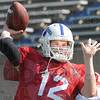 Pass: Indiana State's #12, Chris O'Leary throws a pass during Wednesday's practice.