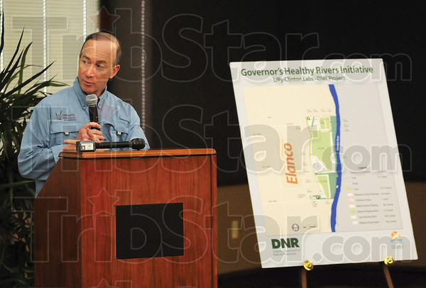 Tribune-Star/Rachel Keyes<br /> Restoration: Governor Mitch Daniels spoke at Eli Lilly Co. Clinton Labs as part of his Indiana Healthy Rivers Initiative restoration project.