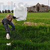 Tribune-Star/Jim Avelis<br /> Greening up: Rene Hankins a staff member at Ivy Tech Community College of Indiana, Wabash Valley, spruces up the front lawn with other staffers, faculty and students Thursday afternoon.