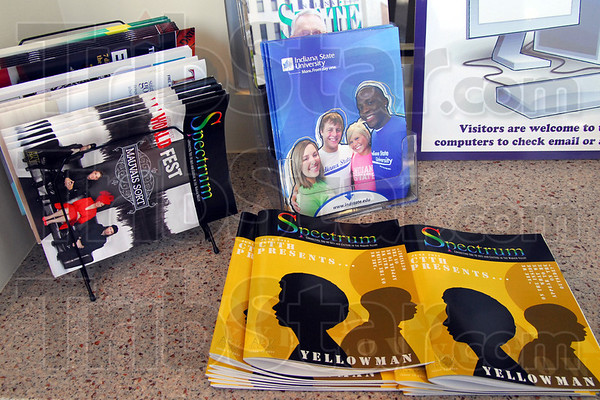 Promotion: Several printed materials are on display at the Convention and Visitor's Bureau that promote Vigo County, Terre Haute City and Indiana State University.