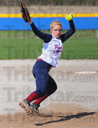 Tribune-Star/Jim Avelis<br /> Good outing: Haley Chambers threw 5 innings of shutout softball in the Panthers' 12-0 win over Rockville in their first game Thursday evening.