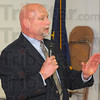 Tribune-Star/Jim Avelis<br /> Organized: Joe Breedlove, state secretary/treasurer for the AFL/CIO speaks to a gathering of about 45 at the Lobor Temple in Terre Haute Thursday evening.