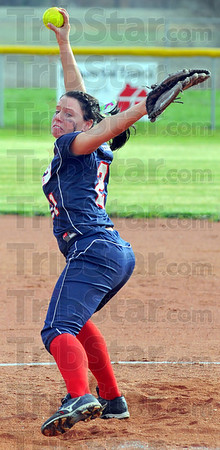 Tribune-Star/Jim Avelis<br /> Shutout: Hillary Rittenberg pitched most of the game for the Patriots, giving a shutout to her relief.