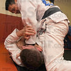 Tribune-Star/Jim Avelis<br /> Practice: Jack McVicker , on top, spars with Chris Howe, one of his students that went to international competition with him recently.