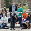 Awareness: Several ISU students sit in Dede Plaza on the ISU campus Thursday morning listening to speakers talk about sexual assault awareness.