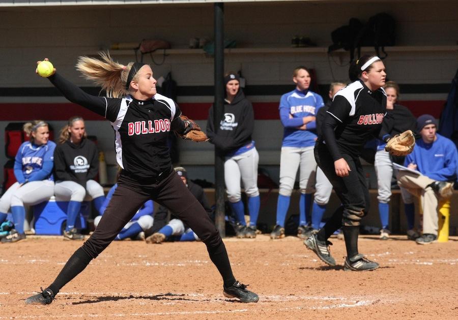 Freshman GWU pitcher, Jessica Childers, and first baseman, Morgan Baker.