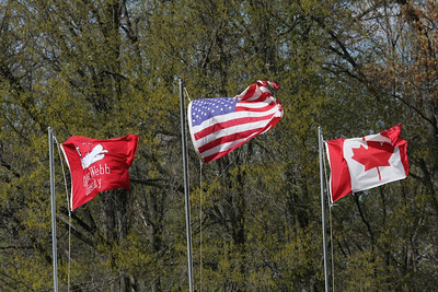 Flags at the softball field revealing the 20 mph winds.