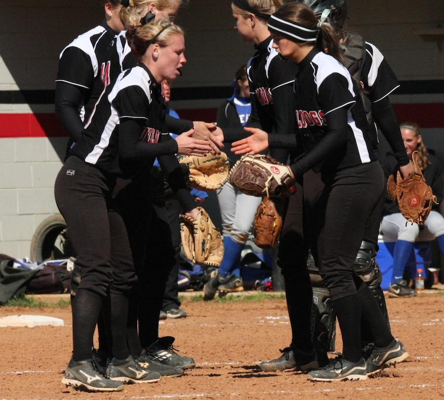 Rachel Jablonski and Jordyn Arrowood doing their famous hand shake before the inning.