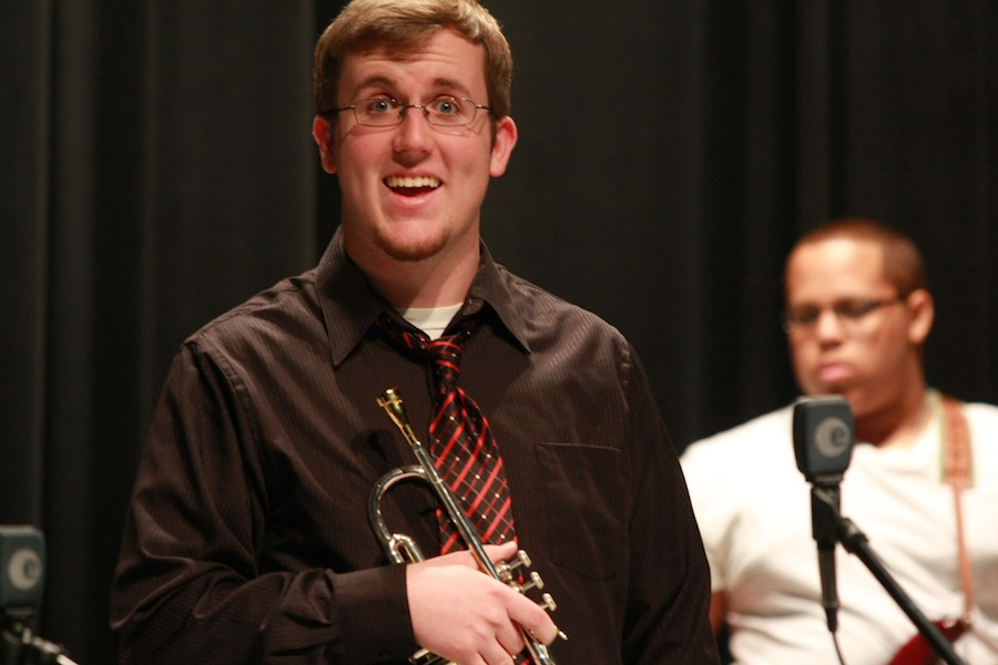Trumpet player, Ty Sheets, excited for the concert.