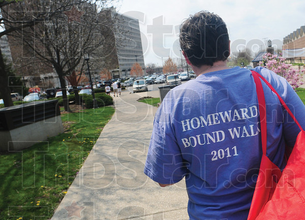Tribune-Star/Rachel Keyes<br /> Take the time: Sandy Waldridge from the Bureau of Children took time out of her Sunday to participate in the Homeward Bound Walk.
