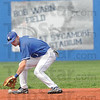 Tribune-Star/Rachel Keyes<br /> Stop it: Indiana State Freshman Tyler Wampler scoops up a ground ball in action on Sunday against Bradley.