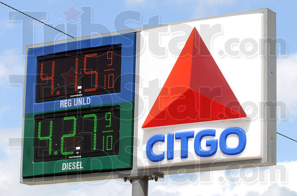 Gas pain: Detail photo of sign at the Citgo station on Lafayette Avenue Tuesday afternoon.