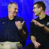 Connecticut head coach Jim Calhoun, left, talks to Butler head coach Brad Stevens prior to taping a television interview for the men's NCAA Final Four college basketball championship game Sunday, April 3, 2011, in Houston. Butler plays UConn in the championship game Monday night.(AP Photo/Eric Gay)