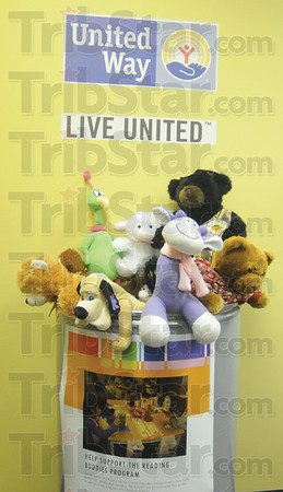 Tribune-Star/Rachel Keyes<br /> Reading buddy: The United Way is taking donations for the reading buddy program. They are looking for new 12 to 14 inches stuffed animals to be donated in cans at the School Corporation building, United Way of the Wabash Valley and the Tribune Star.