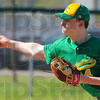 Tribune-Star/Jim Avelis<br /> Control problems: Connor Strain had control problems, walking in runs and hitting West Vigo batsmen, early in their game Friday evening.