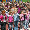 Tigers: The entire student body of Farrington Grove Elementary School  participates in a song during Friday's event.