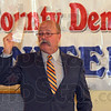 Tribune-Star/Jim Avelis<br /> Mid season form: John Gregg adresses the gathering at the Clay County Jefferson-Jackson Day dinner Friday evening in Brazil.