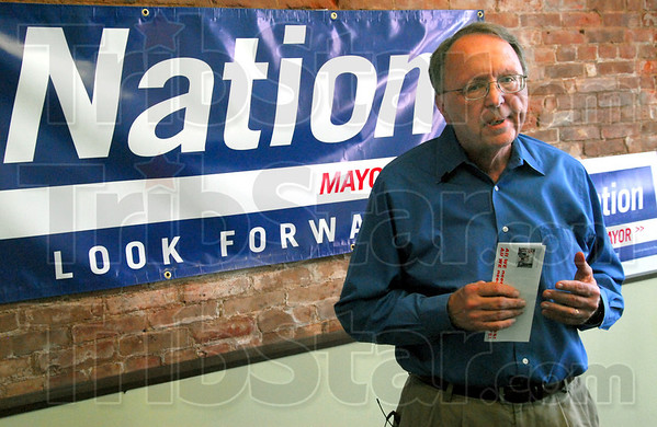 Nation: Democrat mayoral candidate Fred Nation talks with news media at an afternoon press conference Friday.