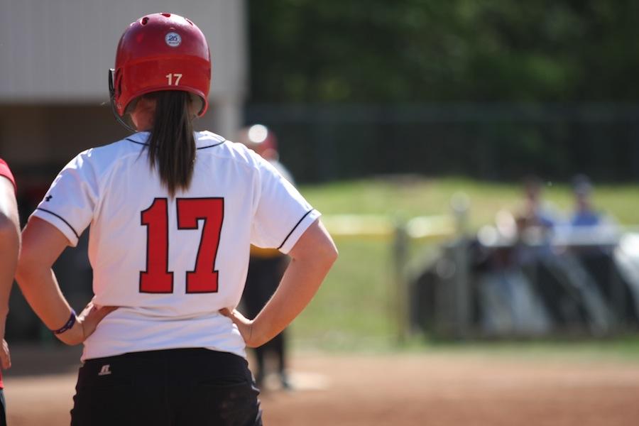 Number 17, McKenzie Morenus, on first base.