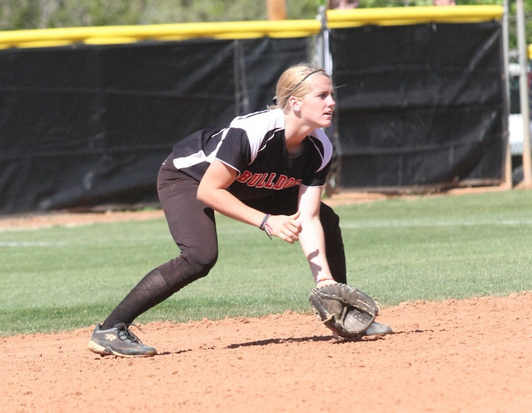 Second baseman, number 14, Samantha Meenaghan.