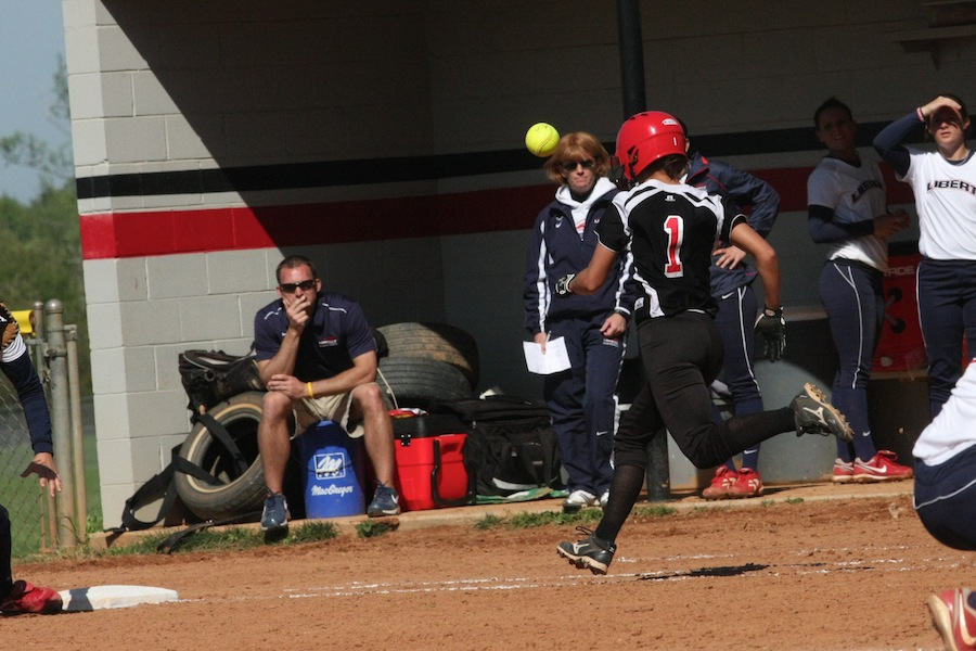Number 1, Emily Bowman, attempts to out run the ball.