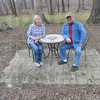 Changing seasons: Jennie and Terry O'Rourke sit in one of their dormant hosta gardens at their Countryside Gardens northeast of Marshall Ill. Tribune-Star/Jim Avelis